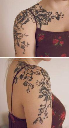 Black Floral Tattoo.