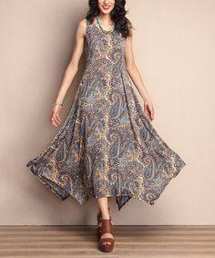 Another great find on #zulily! Brown Paisley Scoop Neck Handkerchief Maxi Dress #zulilyfinds