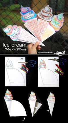 Color, Cut & Create Ice-cream craft for kids Summer Crafts, Diy And Crafts, Crafts For Kids, Arts And Crafts, Paper Crafts, Family Crafts, Paper Toys, Ice Cream Crafts, Ice Cream Art