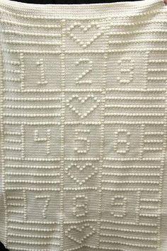 Crib Afghan 123 By Nancy Liggins - Free Crochet Pattern - (ravelry) Crochet Afghans, Crochet Quilt, Crochet Cross, Baby Afghans, Knit Or Crochet, Baby Blanket Crochet, Crochet Baby, Baby Blankets, Crochet Blankets
