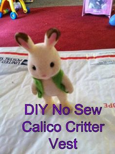 DIY Tutorial for a No Sew Calico Critter Vest!