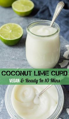 Coconut lime curd - this amazing vegan fruit curd is rich smooth and creamy easy to make and tastes like Summer in a jar. Ready in under 10 minutes. Vegan Treats, Vegan Desserts, Vegan Recipes, Dessert Recipes, Cooking Recipes, Lime Recipes, Sweet Recipes, Patisserie Vegan, Curd Recipe