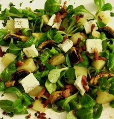 Chefkoch.de Rezept: Birnen - Feldsalat mit Bacon und Gorgonzola