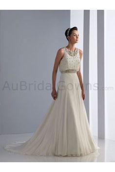 Chiffon Scoop Neckline Blouson Bodice A-line Wedding Dress