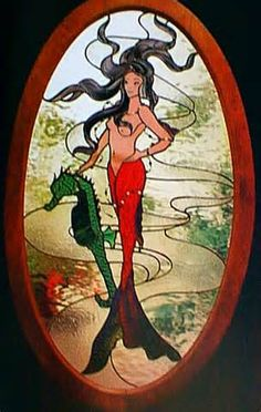 Mermaid with seahorse. (I would add a top obviously) Faux Stained Glass, Stained Glass Designs, Stained Glass Panels, Stained Glass Projects, Stained Glass Patterns, Glass Book, My Glass, Blown Glass, Dragons