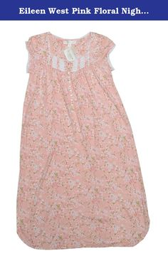 Eileen West Pink Floral Nightgown (XS, Pink). Sleeveless. Long length. Machine washable. Genuine Product by Eileen West.