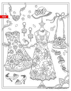 "Marjorie Sarnat's Fanciful Fashions Coloring for Everyone, ""Flower Ensemble"""