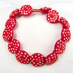 Red and white spotted Button Bracelet