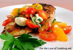Garlic Basil Chicken topped with Caprese Salad - with the fruits of my thriving basil plant!