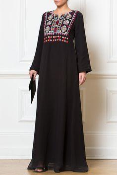 Afghan Embroidered Black Dress