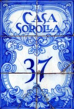 vintage handpainted blue address tiles, Spain