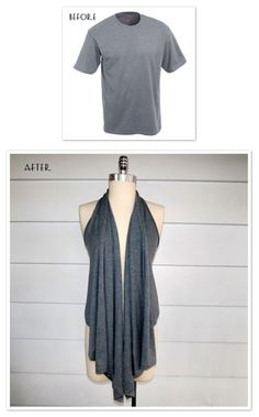 DIY turning a t-shirt into a draped vest Sewing Hacks, Sewing Crafts, Sewing Projects, Diy Crafts, Diy Projects, Diy Clothing, Sewing Clothes, Clothes Refashion, Vetements Clothing