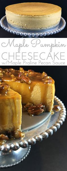 Maple Pumpkin Cheesecake w/Maple Pecan Praline Glaze Maple Pumpkin Cheesecake w/Maple Praline Pecan Sauce. Creamy pumpkin cheesecake with a hint of maple smothered in buttery maple praline pecan sauce! For all the cheesecake lovers! Köstliche Desserts, Delicious Desserts, Dessert Recipes, Health Desserts, Food Cakes, Cupcake Cakes, Cupcakes, Coconut Dessert, Pecan Pralines