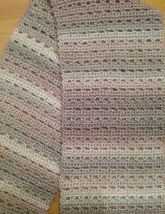 Sandscapes Scarf Crochet Pattern Amanda Bryant Materials: 2 skeins Red Heart Unforgettable 100 Acrylic medium weight yarn (each skein g; Crochet Prayer Shawls, Crochet Shawl, Crochet Stitches, Crochet Patterns, Scarf Patterns, Crochet Ideas, Knitting Patterns, Crochet Vests, Crochet Edgings