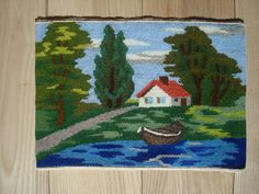 Small Vintage Handmade Tapestry 8.5 x 12 Tapestry by OLaLaVintage