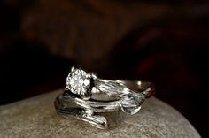 18 ct White Gold Twig Engagement Ring - Leaf Engagement Ring - Twig Diamond Engagement Ring - Hand made to Order
