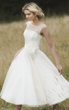 Demure Illusion Neckline Tea Length Dress With Floral Detail - 702404 Summer Wedding Gowns, Tea Length Wedding Dress, Tea Length Dresses, Best Wedding Dresses, Bridal Dresses, Bridesmaid Dresses, Wedding Beach, Amazing Wedding Dress, Elegant Wedding Dress