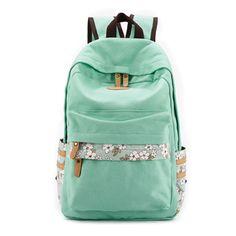 Floral Print Travel School Computer Backpack Shoulder Bag