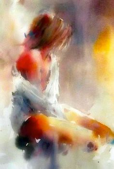 art acuarela Ethereal Watercolor Art That Will Have You Reeling With Wonder Watercolor Portraits, Watercolor Paintings, Watercolors, Watercolor Dancer, Sad Paintings, Figure Painting, Painting & Drawing, Pour Painting, Painting Process