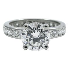 Oscar Heyman 1.58 Carat Round Brilliant Cut Diamond Platinum Ring GIA