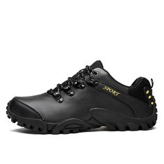 32.58$  Buy here - 2016 Leather Trekking Shoes Men Outdoor Waterproof Sport Sneakers Black Mountain Hiking Shoes Leather Boots Outdoor Sneakers  #buymethat