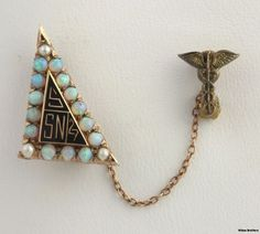 Vintage 1927 School of Nursing Genuine Opal & Pearl Badge Pin - Yellow Gold Vintage Nurse, Vintage Medical, Nursing Pins, Sorority, Fascinator, Brooch Pin, Opal, Pendant Necklace, Drop Earrings