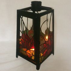 """Autumn Leaves' Stained Glass Lantern by - Smash Glassworks [SOLD]"
