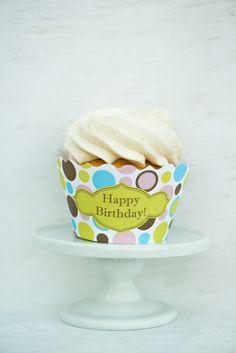 Happy Birthday Bright Polka Dots via Hoopla Events on Etsy.  $5.99