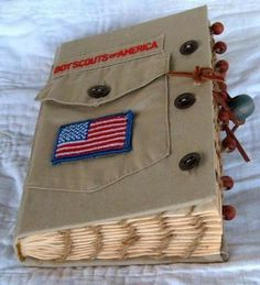 up cycled boy scout theme, scrapbook \/ photo album \/ journal Scout Mom, Cub Scouts, Girl Scouts, Boy Scout Shirt, Eagle Scout Ceremony, Eagle Project, Scout Activities, Scout Camping, Photo Album Scrapbooking
