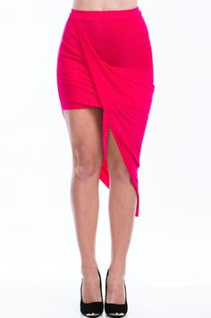 81a55bf23ee Twisted Unbalanced Skirt - Hot Pink