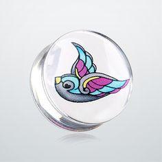 Flying Swallow Clear UV Double Flared Ear Gauge Plug
