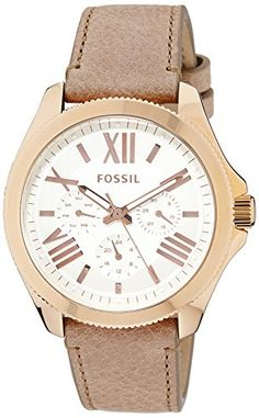 Fossil Womens AM4532 Cecile Multifunction GoldTone Stainless Steel Watch with Brown Band *** Check out the image by visiting the link.