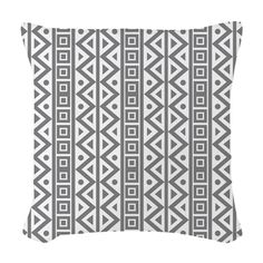 Grey White Geometric Pattern Woven Throw Pillow on CafePress.com