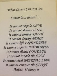 What Cancer Can Not Do!