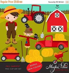 Fall Harvest Clipart Beautiful Fall Harvest Clipart set. Set features cute 4 different hair and skin color farmers. Red barn clipart, Haystacks, hay, pumpkins, pumpkin patch, pitchfork, pick up truck, tractor clipart, scarecrow , little crows, fall leaves, wooden fence Perfect for invitations, party printables and embroidery.  Contains 15 high quality Cliparts Format: 300 DPI transparent PNG files. Size: Most cliparts are saved around 6,7 inches tall  LICENSE: Personal Use & Commercial Use…
