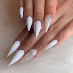 Happy manicure glowing with this stiletto set! By @hodanails Love Nails, Pretty Nails, Fun Nails, Amazing Nails, Glitter Nail Art, Nail Decorations, Stiletto Nails, Claws, Manicure