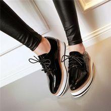 Alta calidad británica del Punk Retro de muy buen gusto de la enredadera plataforma plana Oxfords femeninos para mujer con cordones de la mujer Brogues zapatos cuadrado gótico lindos del dedo del pie(China (Mainland))