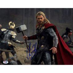Chris Hemsworth Signed 11x14 Thor Photo Horizontal with Hammer Staring (PSA/DNA)