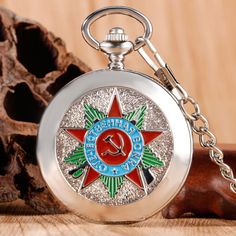 Modern Silver Mechanical Pocket Watch Communism Badge 1941-1945 Soviet Classic Roman Numerals Skeleton Vintage Fob Watch Gifts