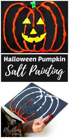 Making a Halloween pumpkin salt painting is an easy art project for kids preschool age and up. Click through to learn how to make your own DIY salt paint Halloween craft with links to other fun ideas! Halloween Kunst, Halloween Art Projects, Theme Halloween, Easy Art Projects, Halloween Pumpkins, Projects For Kids, Halloween Diy, Halloween Painting, Halloween Crafts For Kids To Make