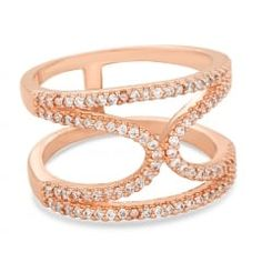 Pave crystal rose gold bypass ring