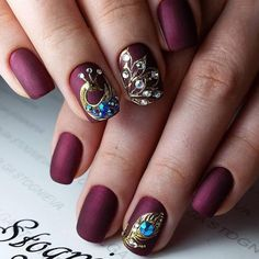 Ideas For Fails Design Classy Rose Gold Peacock Nail Designs, Peacock Nail Art, Simple Nail Art Designs, Easy Nail Art, Wine Nails, The Art Of Nails, Ring Finger Nails, Art Simple, Creative Nails