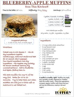 FAST TRACK BLUEBERRY APPLE MUFFINS -21 DAY FIX STYLE! — TUFFLILY