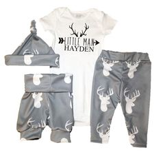 Deer Head coming home outfit Boys Baby Leggings and by LineLiam