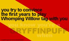 you know you're a Gryffinpuff when... you try to convince the first years to play Whomping Willow tag with you