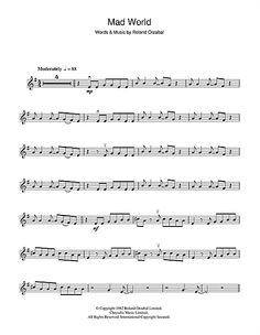 Mad World Partituras Clarinet Sheet Music, Violin Music, Sheet Music Direct, Digital Sheet Music, Tears For Fears, Mad World, Anime Music, Words, Bass
