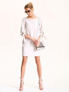 Elegancka prosta sukienka z wiązanymi rękawami, Top Secret