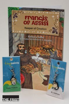 """Francis of Assisi: Keeper of Creation"" tells the inspiring story of St. Francis. This children's book is available in the Frist's gift shop for $4.99. The ""Tiny Saints"" charms offer a variety of religious saints and popes to carry with you, from Pope Francis to St. Anthony as shown here. You can take a along a saint or pope for $5 from our gift shop."