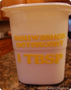 I love this Homemade Dishwasher Detergent. It saves me soooooo much money.  $.06 per load! Wahoo!   www.fabulesslyfrugal.com
