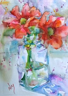 Fine art for sale - © nora macphail art-sketchbook i 2019 watercolor art, w Art Floral, Watercolor And Ink, Watercolor Flowers, Painting Flowers, Flower Paintings, Pinturas Em Tom Pastel, Art Aquarelle, Art Sketchbook, Beautiful Paintings